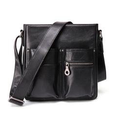 Casual Black LEATHER MENS 8 inches Vertical Messenger bag Black SIDE BAG Shoulder Bag Courier BAG FOR MEN