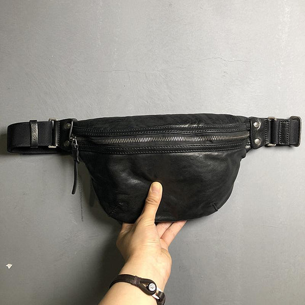 Black Cool Leather Men Small Fanny Pack Waist Bag Hip Pack Tan Belt Bag Bumbag for Men