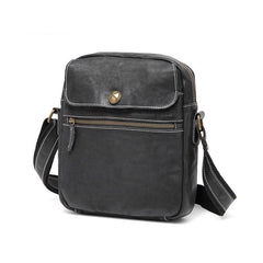 Black Cool Leather Mens Small Vertical Side Bag Messenger Bags Brown Casual Bicycle Bags for Men