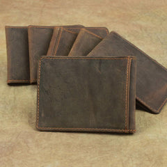 Cool Dark Brown Leather Mens Small Bifold Wallet billfold Wallet License Wallet for Men