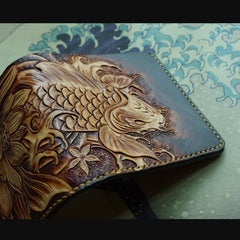 Handmade Leather Carp Tooled Mens billfold Wallet Cool Slim Wallet Biker Wallet for Men