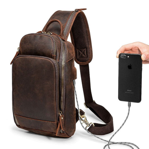 Badass Dark Brown Leather Men's Sling Bag Chest Bag Vintage One shoulder Backpack For Men