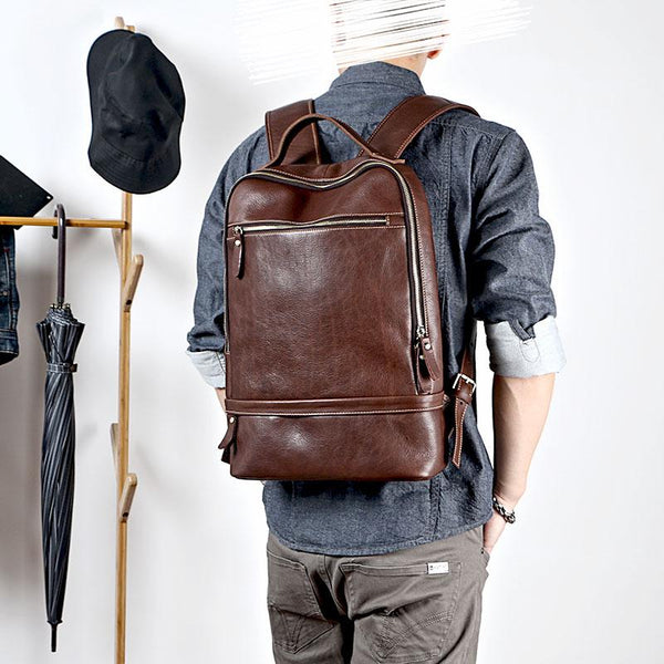 Brown Cool Leather Mens School Backpack College Backpack Computer Backpack For Men