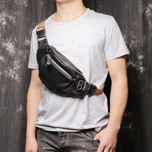 Best Black Leather Fanny Pack Men's Black Chest Bag Best Hip Bag Waist Bag For Men