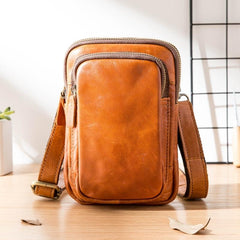 Black Leather Mens Mini Messenger Bag Belt Pouch Tan Side Bag Phone Bag Belt Bag For Men