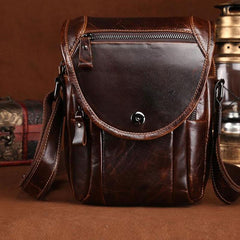 Cool Coffee Small Mens Leather Side Bag Messenger Bag Shoulder Bag for Men
