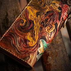 Handmade Leather Tooled Monkey King Mens Chain Biker Wallet Cool Leather Wallet Long Clutch Wallets for Men