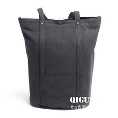 Mens Waxed Canvas Leather Tote Bag Canvas Shoulder Bag for Men
