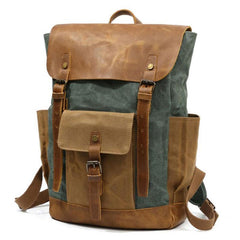 Waxed Canvas Mens Travel Backpack Canvas Backpacks Canvas School Backpack for Men