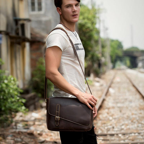 Cool Coffee Leather 13 inches Mens Small Postman Bag Messenger Bag Courier Bag for Men