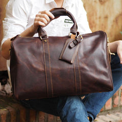 Cool Leather Mens Overnight Bag Weekender Bag Vintage Travel Bags Duffle Bag for Men