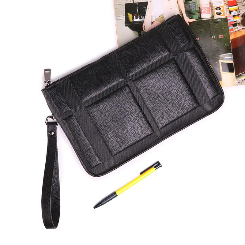 Black Mens Leather Slim Zipper Clutch Wristlet Purse Bag Clutch Bag For Men