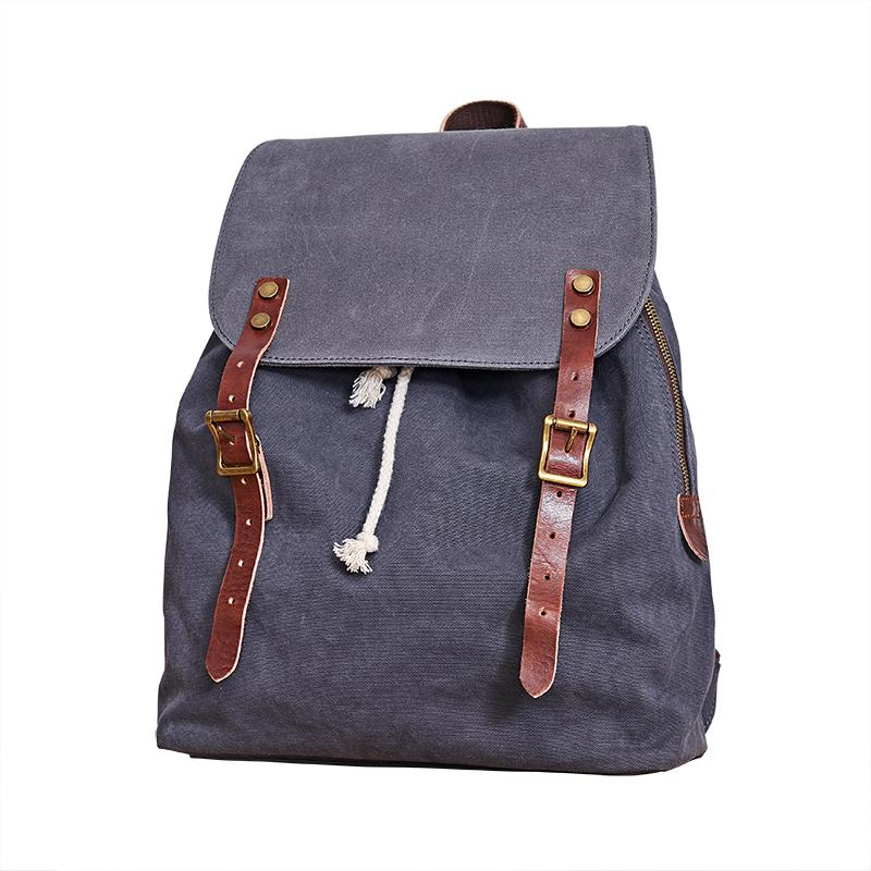 Canvas Mens Womens Backpack Green Travel Rucksack Satchel Backpack Canvas School Backpack for Men