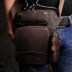 Biker Mens Leather Drop Leg Bag Waist Bag Belt Pouch Pack Side Bag for Men
