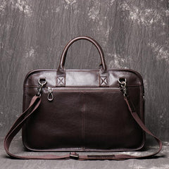 Dark Brown Leather Mens 15 inches Large Laptop Work Bag Handbag Briefcase Shoulder Bags Business Bags For Men