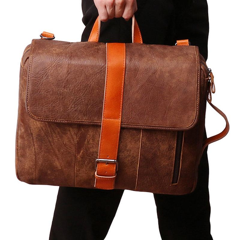 Cool Brown Leather Messenger Bag Handbag Shoulder Bag Backpack For Men
