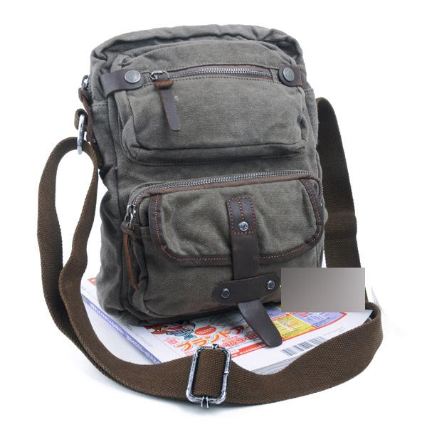 Canvas Black Mens Vertical Postman Bags Canvas Messenger Bags Khaki Courier Bag For Men