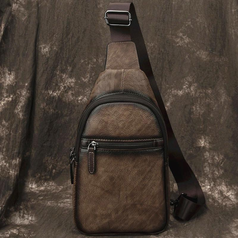 Brown Cool LEATHER MENS Sling Bag Chest Bag Khaki One Shoulder Bag For Men