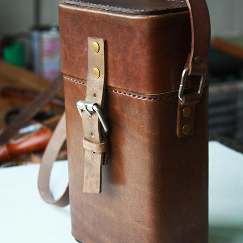 Handmade Leather Mens Small Box Bag Shoulder Bag Messenger Bag for Men