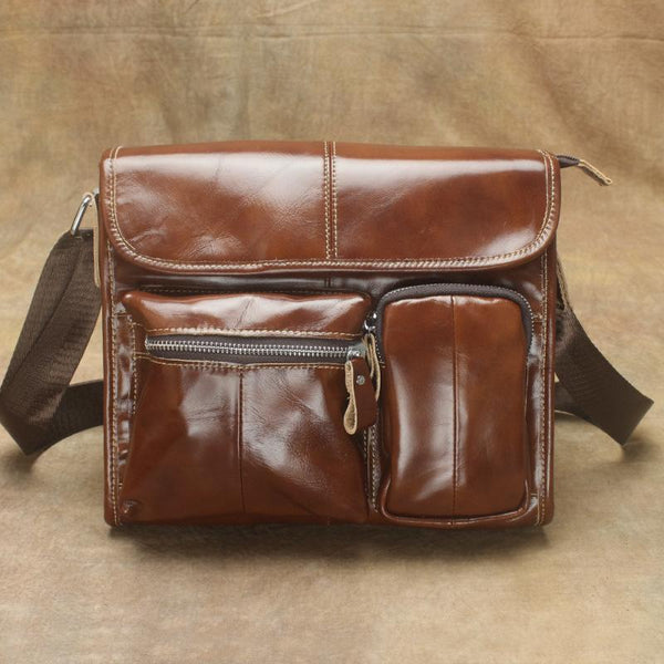 Oil Waxed Brown Leather Men's Small Messenger Bag Coffee Small Side Bag For Men