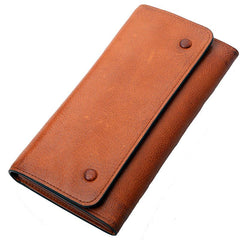 Tan Cool Leather Mens Long Wallet Black Bifold Wallet Long Wallet Brown Phone Wallet For Men