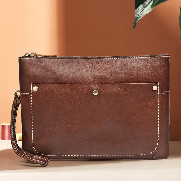 Large Brown MENS LEATHER SLIM ZIPPER CLUTCH Dark Coffee WRISTLET PURSE Envelope Briefcase Bag For Men