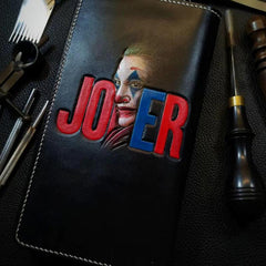 Badass Black Leather Men's Joker Long Biker Wallet Handmade Tooled Zipper Long Wallets For Men