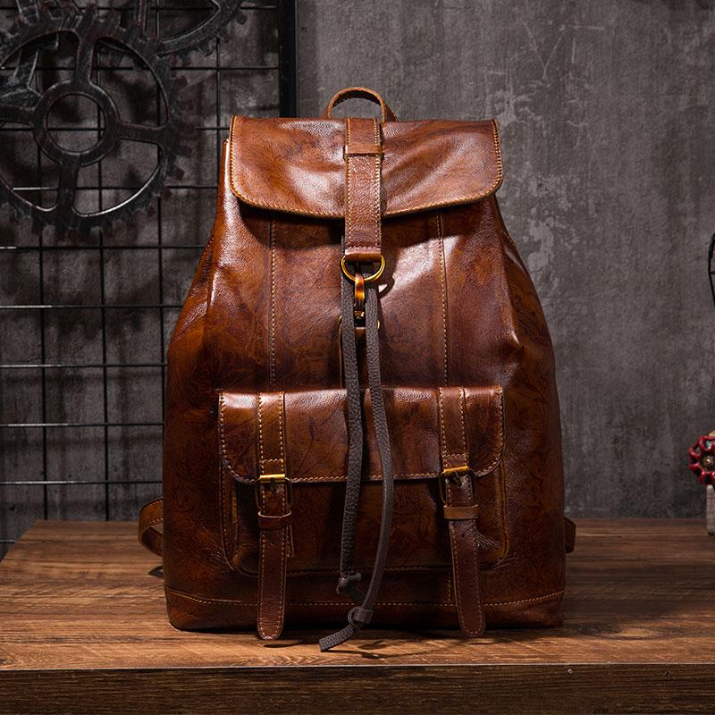 Coffee Cool Mens Leather Backpack Travel Backpacks Leather Hiking Backpack for Men