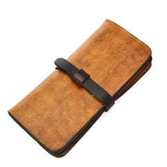 Handmade Vintage Mens Brown Bifold Leather Long Wallet Cool Long Wallets for Men
