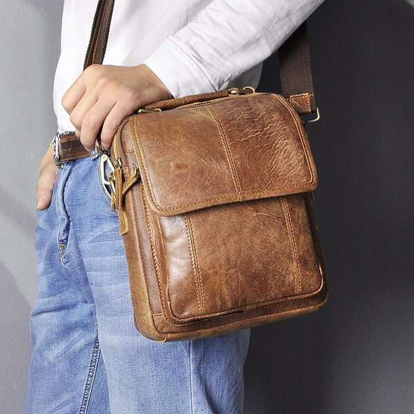 Brown LEATHER MENS Vertical SIDE BAG Small COURIER BAG Vertical Handbag MESSENGER BAG FOR MEN