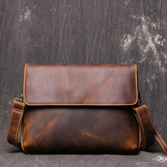 Vintage Black LEATHER MENS Ipad Courier Bag SIDE BAG Casual Brown MESSENGER BAG FOR MEN