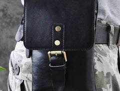Mens Leather Small Side Bag  Waist Pouch COURIER BAG Holster Belt Case Belt Pouch for Men