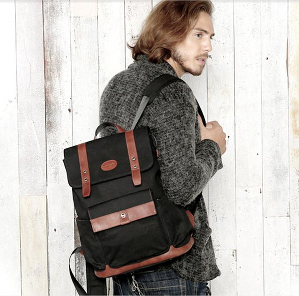 Black Fashion Canvas Leather Mens Laptop Backpack College Backpack Travel Backpack for Men