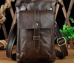 Mens Leather Small COURIER BAG Side Bag Waist Bag Holster Belt Case Belt Pouch for Men