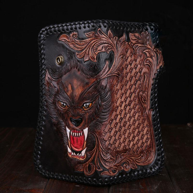 Handmade Leather Wolf Mens Chain Biker Wallet Cool Leather Wallet Long Phone Wallets for Men