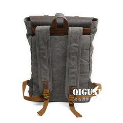 Cool Canvas Leather Mens School Backpack Laptop Backpack Canvas Travel Backpack Canvas for Men
