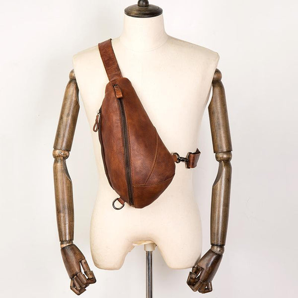 Brown Casual Leather Mens Sling Bag Chest Bags Brown SLing Pack One Shoulder Backpack for Men