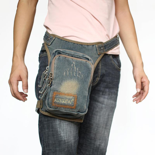 Denim Jean Mens Waist Bag DropLeg Pouch Bag Blue Hip Bag Fanny Pack For Men