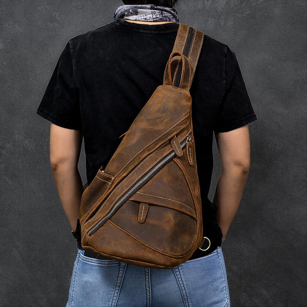 "Vintage Leather Mens 16"" Backpack Sling Bag Brown Chest Bag One Shoulder Backpack for Men"