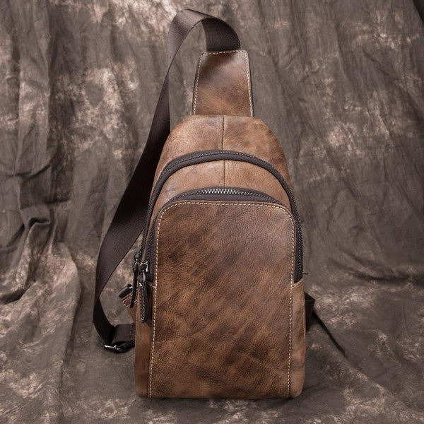 Brown Cool LEATHER MENS 8 inches Sling Bag One Shoulder Backpack Chest Bag For Men