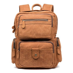Brown Casual Leather Mens 13 inches Travel Backpacks Computer Backpack for Men