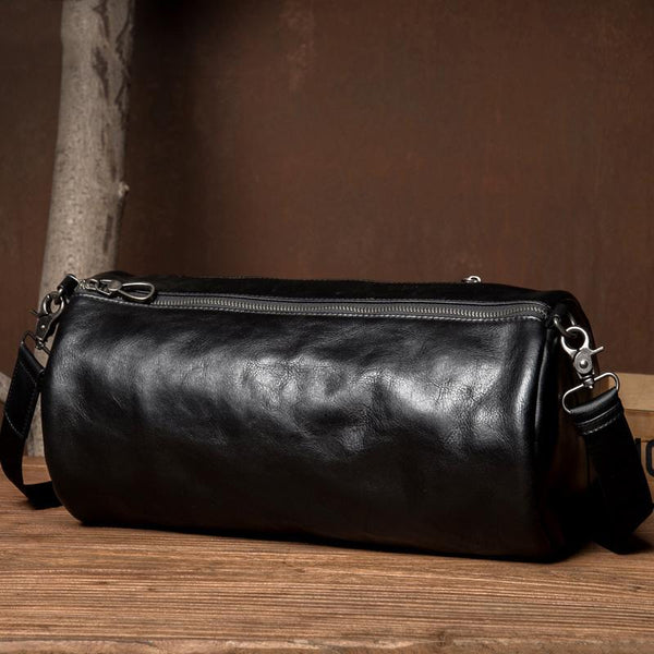 Fashion Black Leather Mens Barrel Messenger Bag Bucket Courier Bag Postman Bags for Men