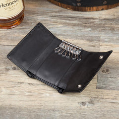 Black Cool Leather Mens Card Holder Trifold Key Wallet Key Holder For Men