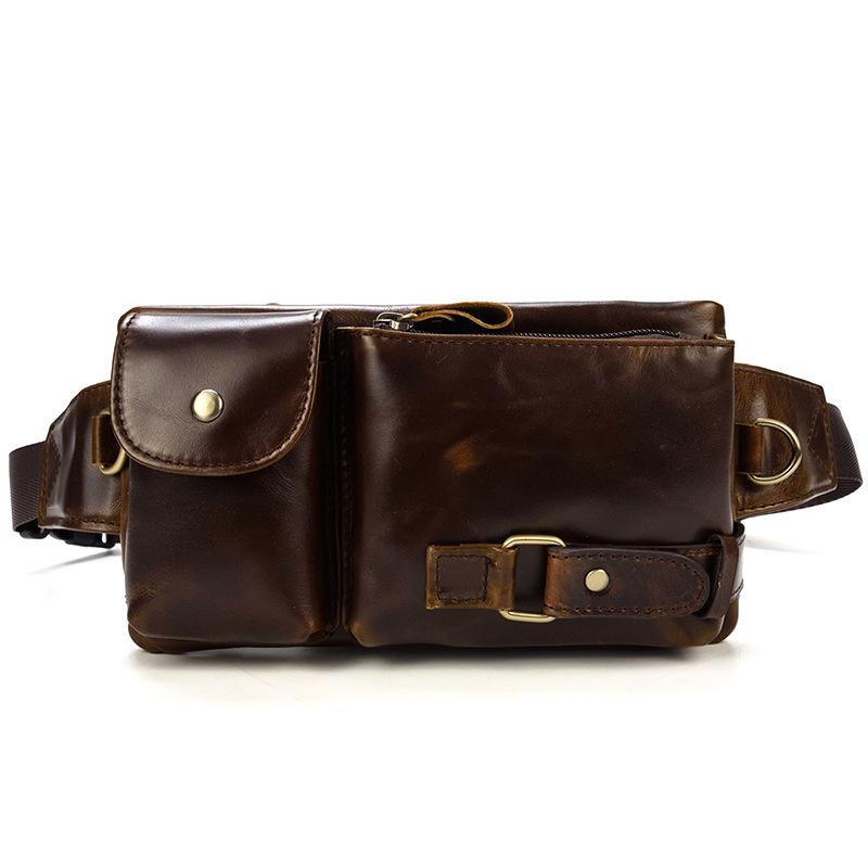Men/'s Brown Genuine Leather Tote Fanny Pack Waist-Wallet Chest Bag Sling Bags