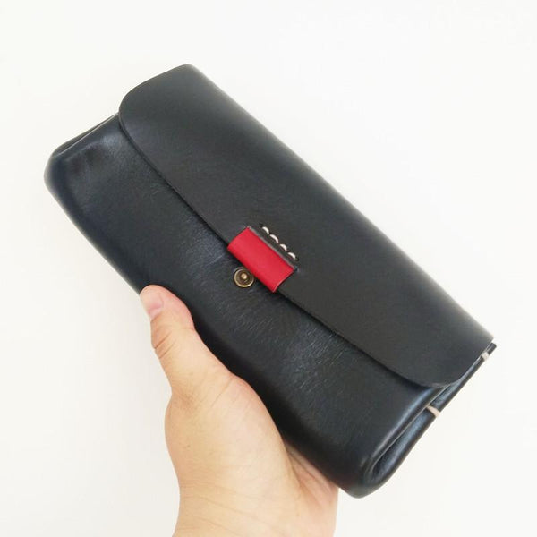 Handmade Suede Womens Black Leather Long Wallet Cool Green Envelope Wallet Clutch for Women