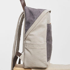 Canvas Gray Mens Cool Backpack Canvas Travel Bag Canvas School Bag for Men