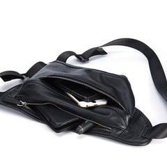 Black Leather Mens Waist Bag Fanny Pack Sling Bag Chest Bag Black One Shoulder Backpack for Men