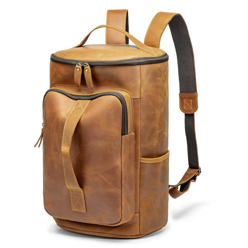 Vintage Mens Leather Barrel Backpack Barrel Travel Backpack Tan School Backpack For Men