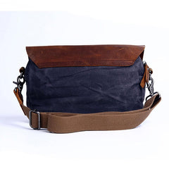 Mens Waxed Canvas Leather Small Side Bag Canvas Courier Bags for Men