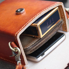 Handmade Leather Mens Box Bag Small Shoulder Bag Messenger Bag for Men